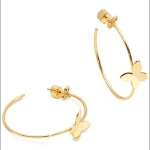 "Kate Spade ""in a flutter"" butterfly hoop earrings"
